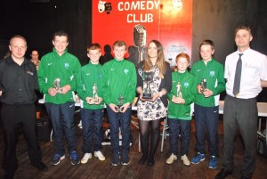 From L - R Christian LeBloas (Eclipse Cinemas, Downpatrick), Colin Jones, Conail Gardiner, Tom Savage, Eimear McKay (Eclipse Cinemas, Downpatrick), Jack Fitzsimons, Malachy McGrady and Balazs Gazdog (McDonalds, Downpatrick)