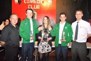 From L - R Christian LeBloas (Eclipse Cinemas, Downpatrick), Fintan Canavan, Eimear McKay (Eclipse Cinemas, Downpatrick), John Hill and Balazs Gazdog (McDonalds, Downpatrick)
