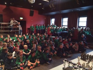 Downpatrick FC Youth Players wait patiently on their Awards Night to start