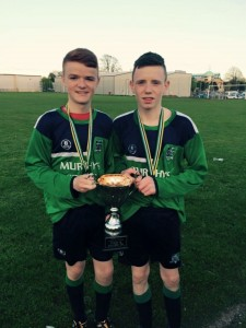 Caolain Logue and Corey McCoubrey hold the runners up cup