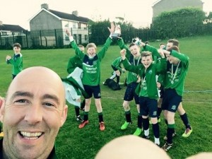Manager Billy Logue and U14's Players Celebrating finishing second place in the Lisburn Invitational Junior League