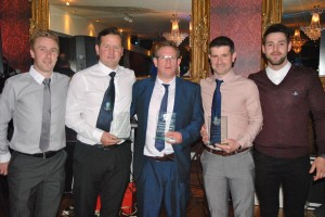 Joint Captains Barry Fitzsimons & Mark Curran present the 1st Team Management of Joe McMahon, Mick McCreesh and Kevin Trueman with a memento acknowledging their success this season.