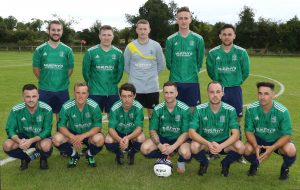 The Downpatrick first team who beat Shankhill 3-0.